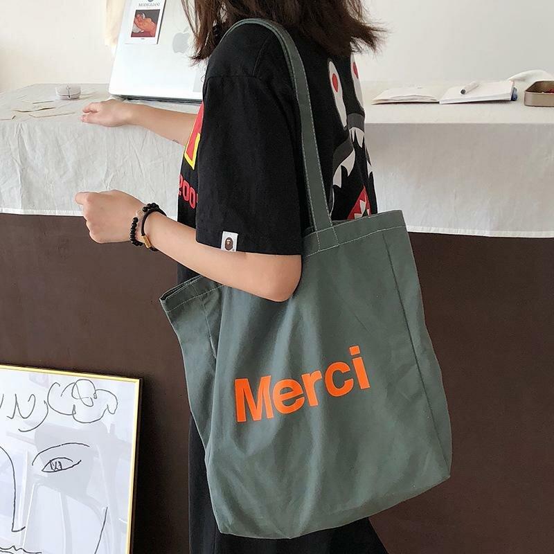 4052c5801fb8 ... Женская холщовая сумка-шоппер для девочек Дорожная сумка на плечо  женская школьная большая тканевая сумка