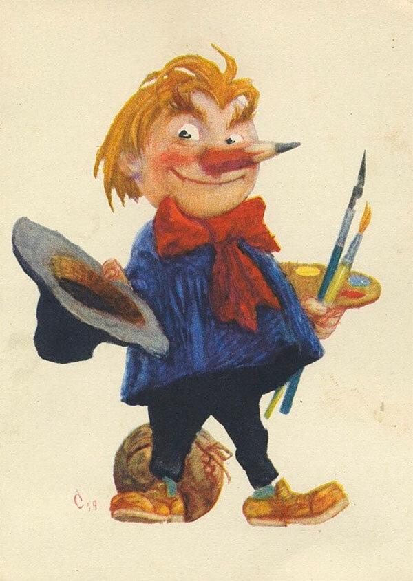 Картинка веселый карандаш из серии веселые человечки, лицами