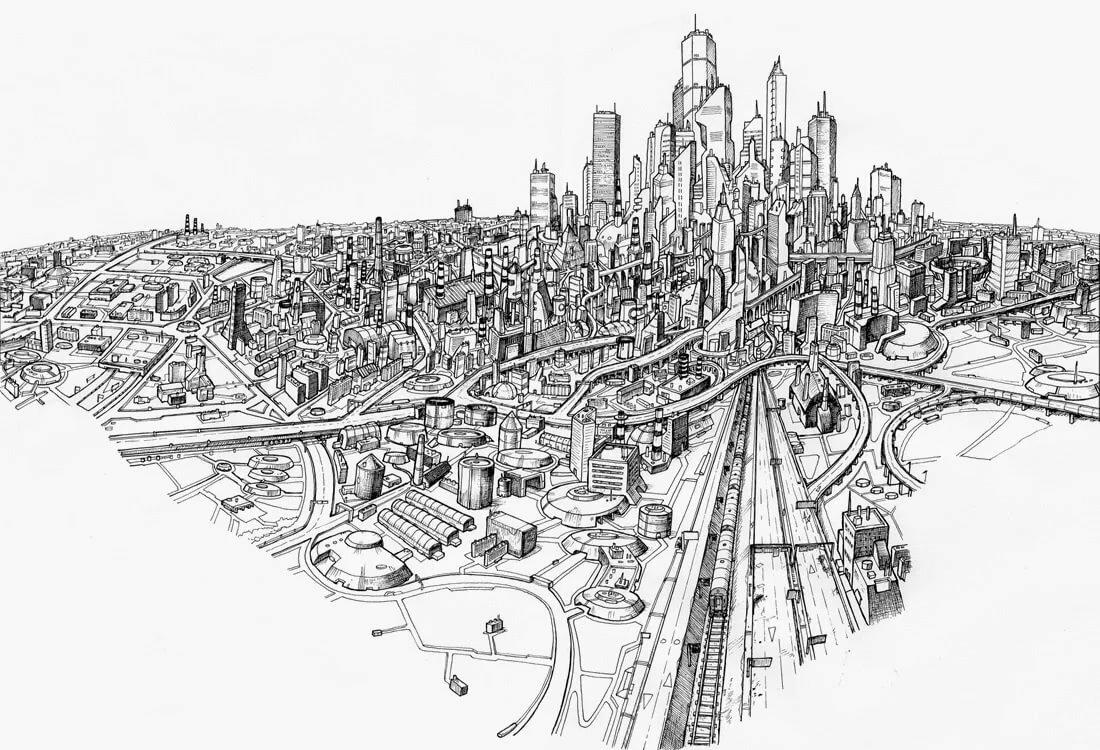 Картинки мегаполиса для срисовки, еврейским