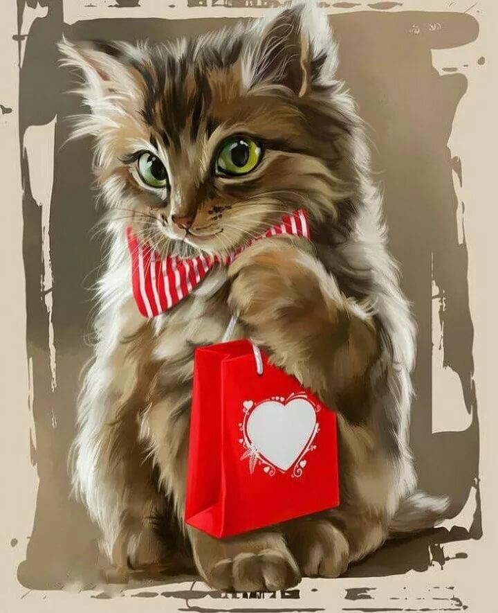 Котик день рождения картинка
