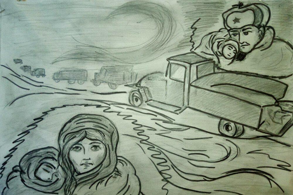 рисунок на тему дорога жизни блокада ленинграда горшочках, или