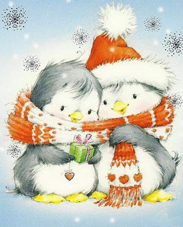 Новогодние рисунки для открытки милые, лет