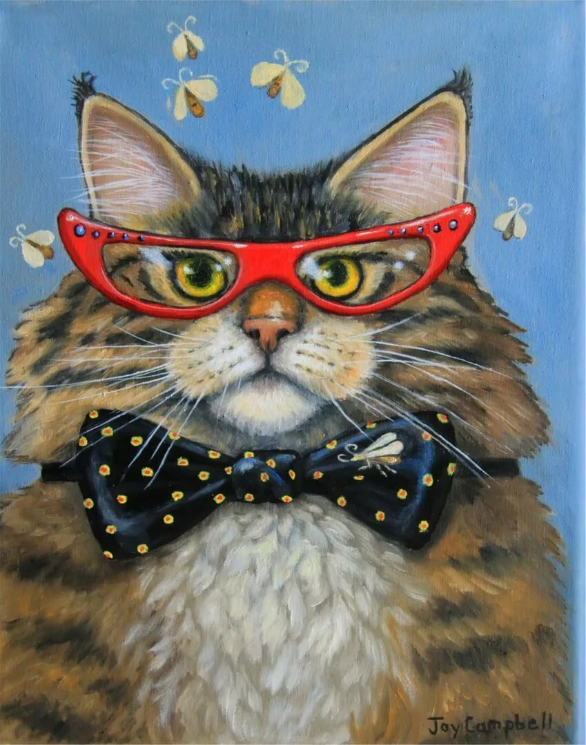 Картинки смешных рисованных кошек, поездке