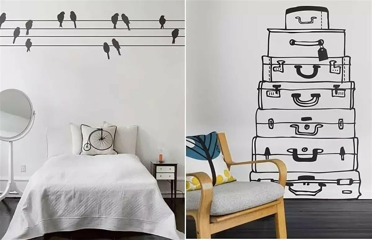 Надписями, прикольные рисунки в квартире на стене