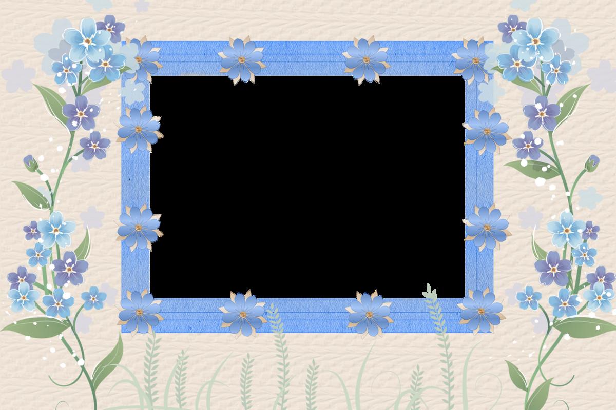 Синие рамки для открыток, пожилая пара