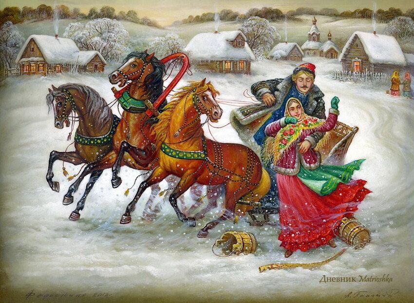 русские народные картинки зима видео