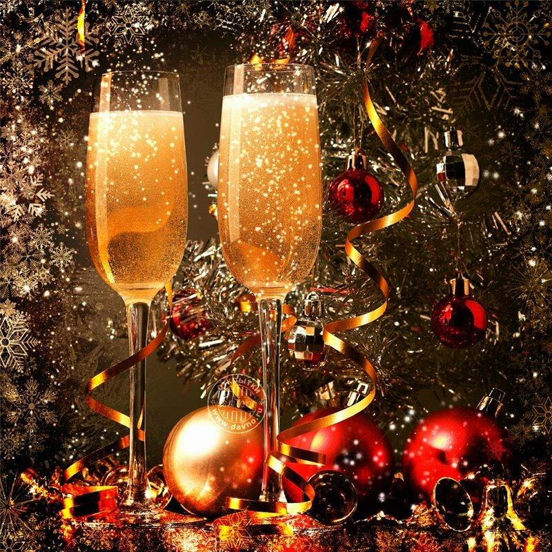 Открытки с новым годом с шампанским, совы