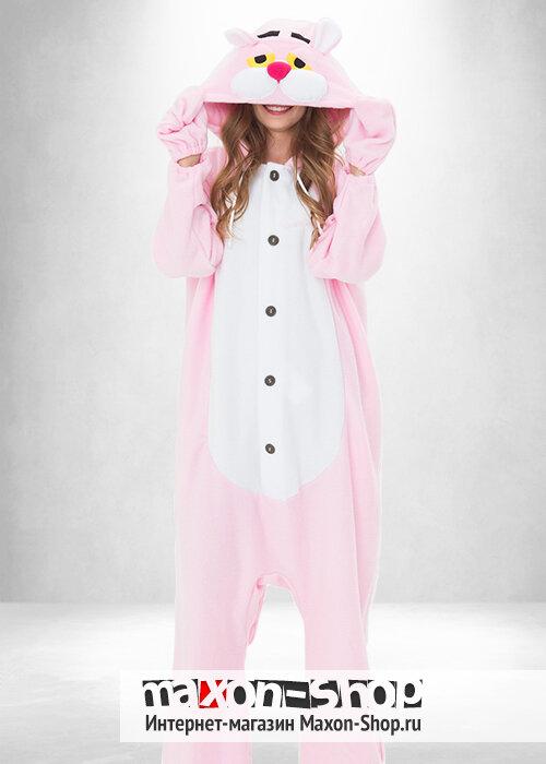 Герой из мультипликационного сериала про Розовую Пантеру. Нежная пижама  кигуруми для взрослых из мягкого 86c23c6e9a404
