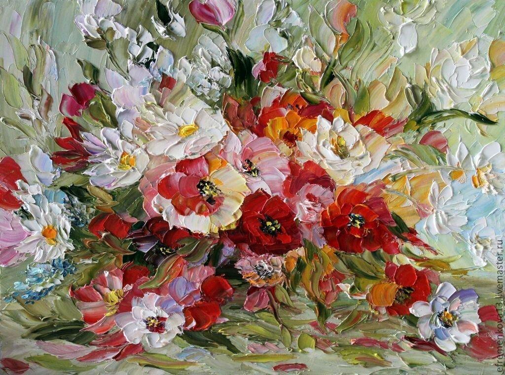 Живопись маслом картинки цветы