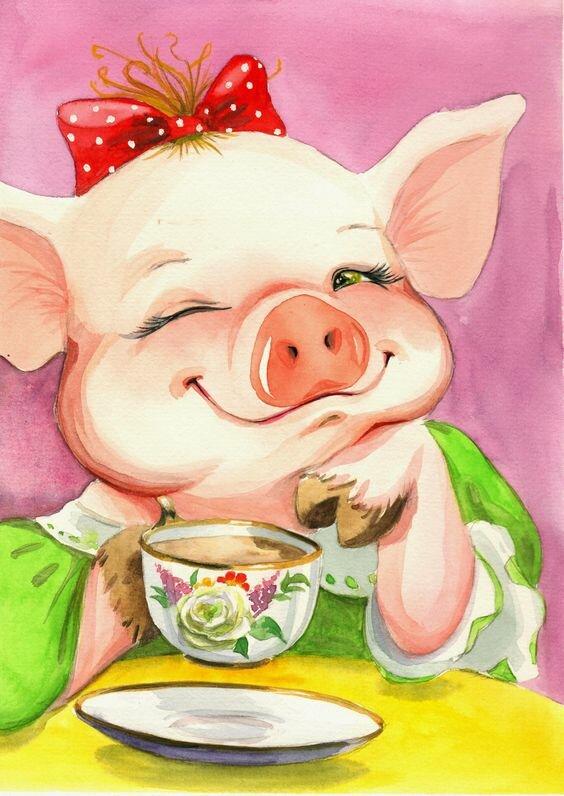 Красивые открытки с символом года свиньи