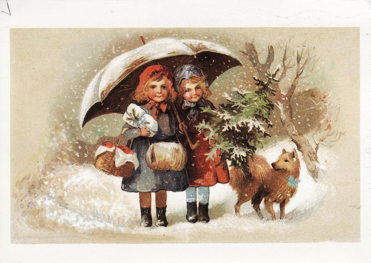 Ретро картинки рождество дети
