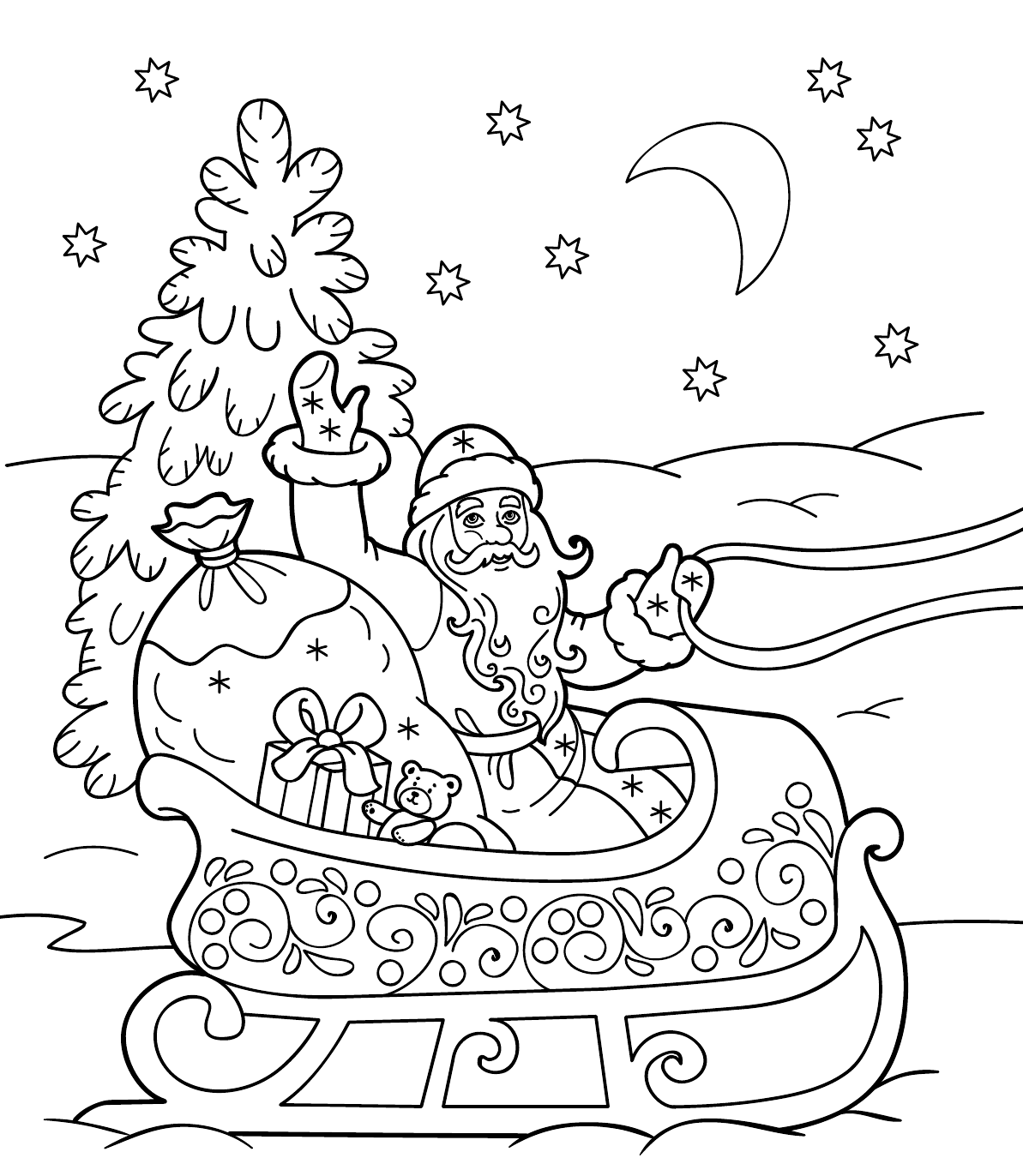 Картинки с новым годом раскраска распечатать на всю страницу, днем
