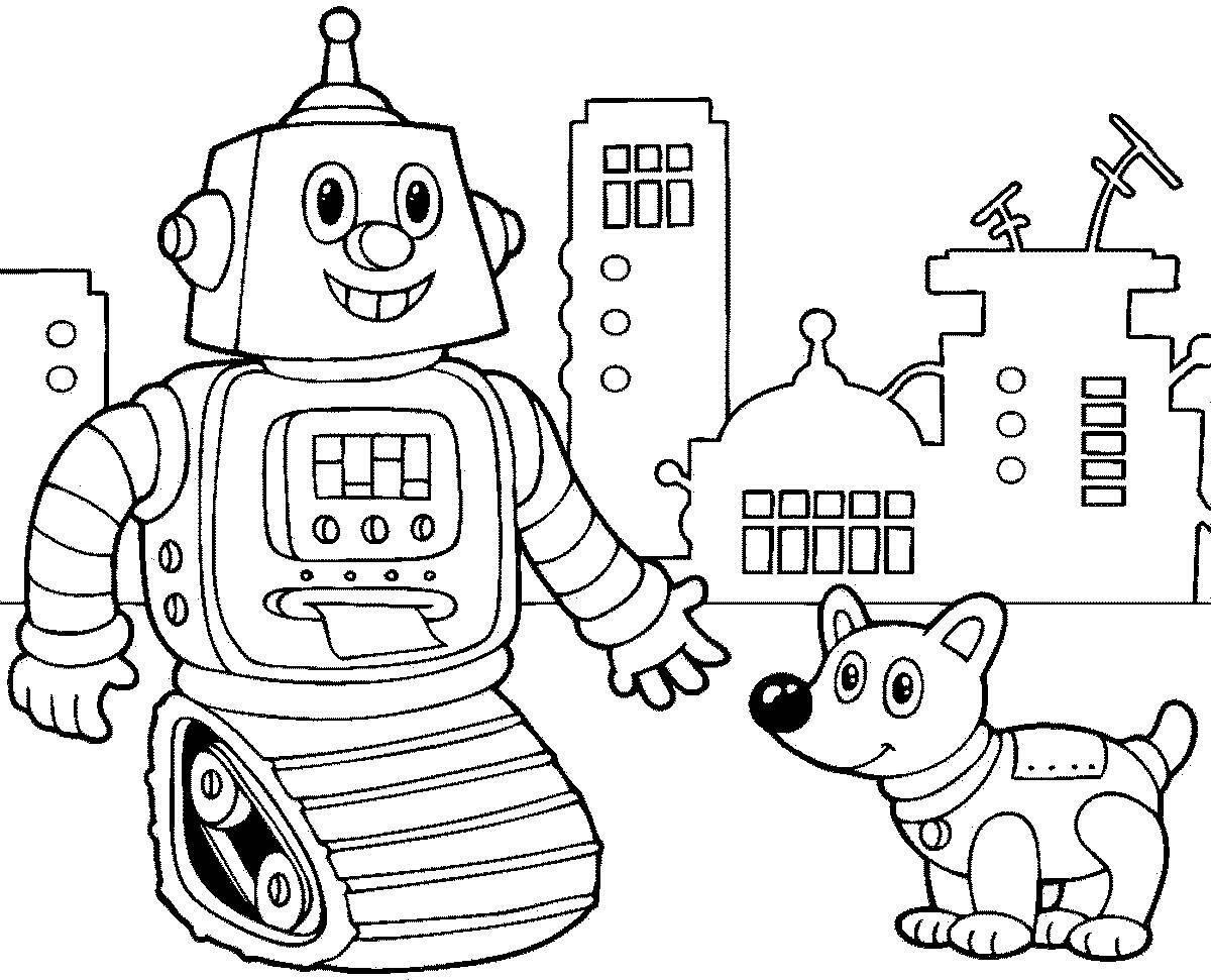 «Раскраска Робот и щенок Раскраски роботы для детей ...
