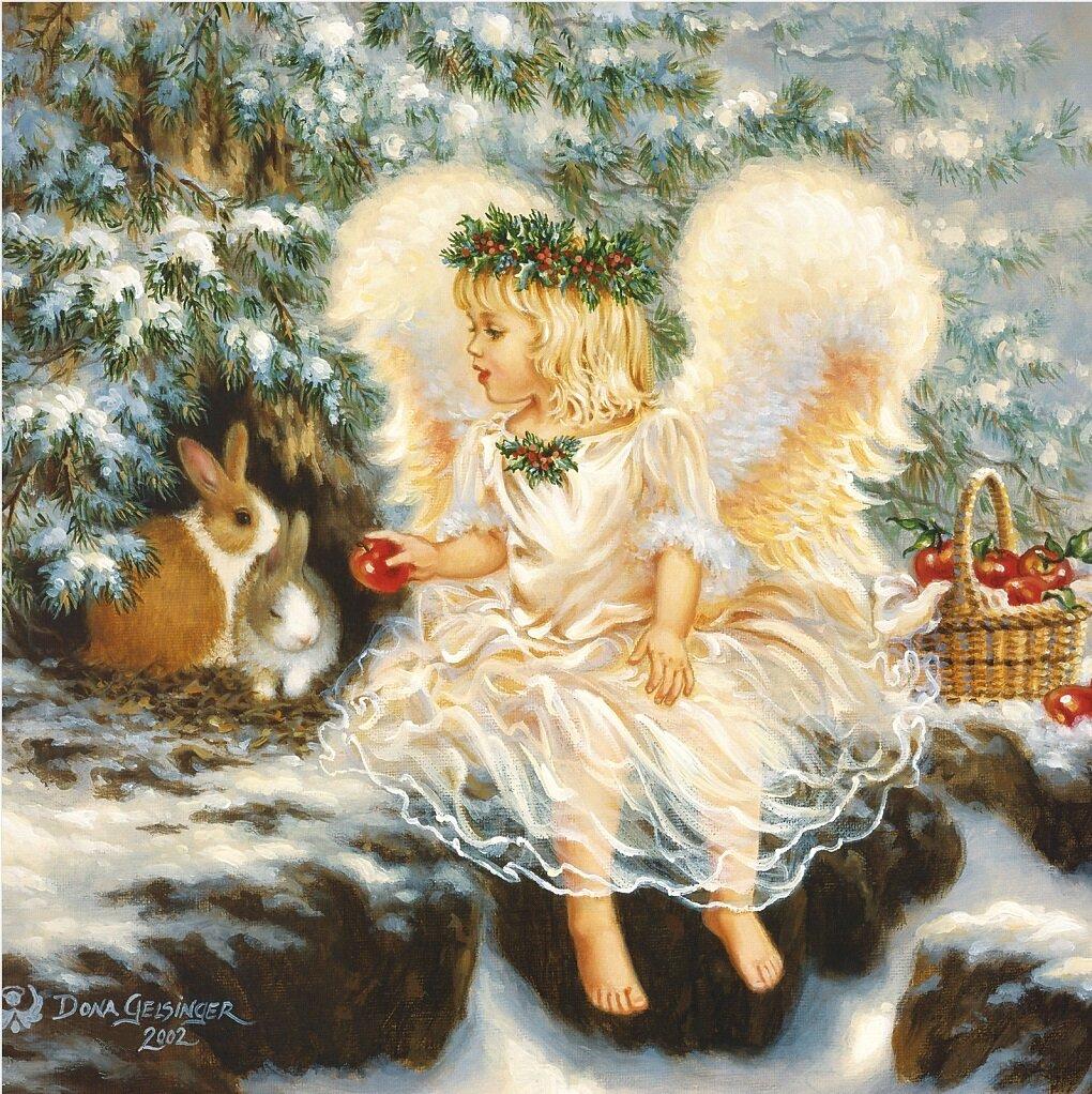 Новый год открытка с анимациями зима ангелочки