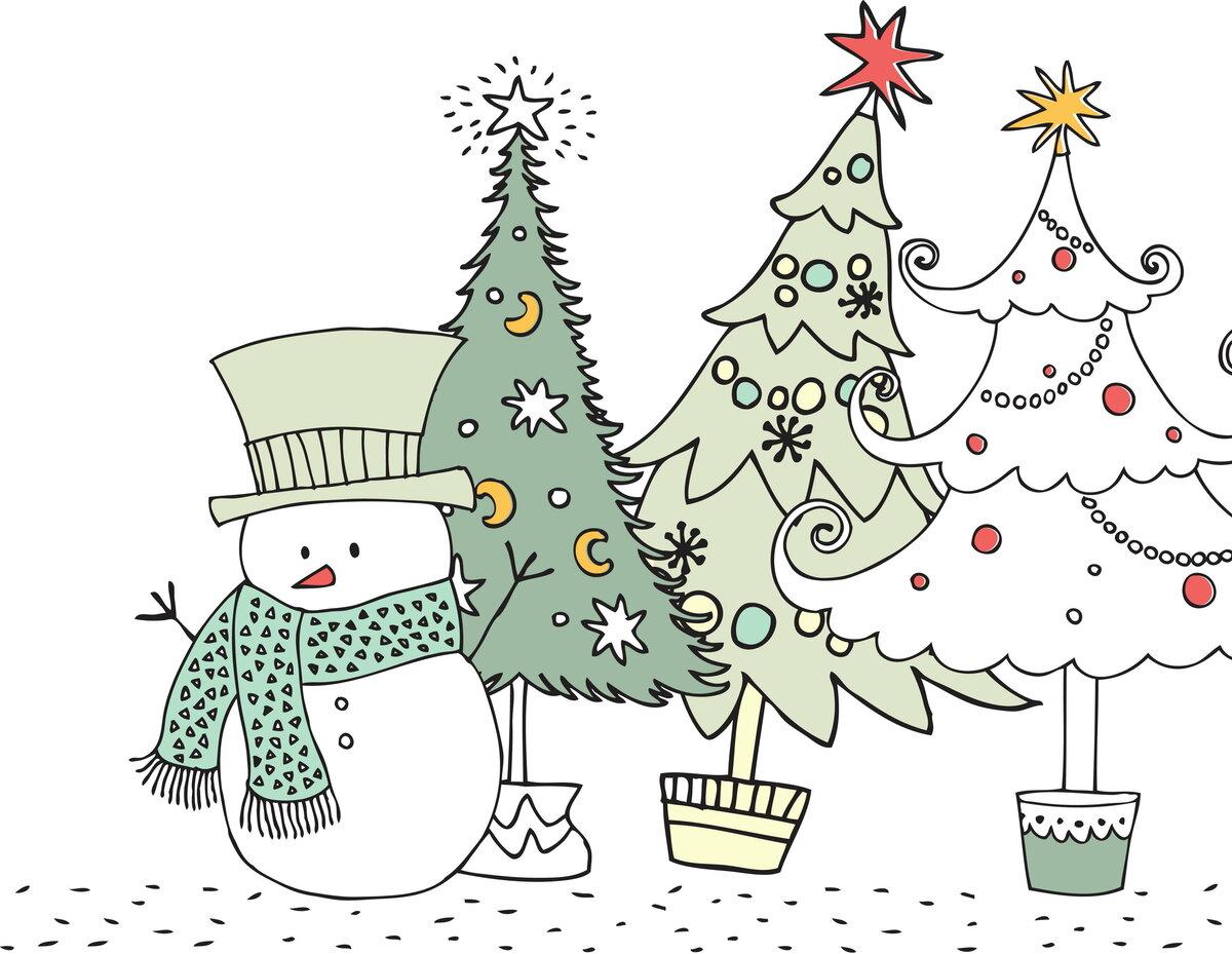 Новогодние картинки для открыток для срисовки, анимация