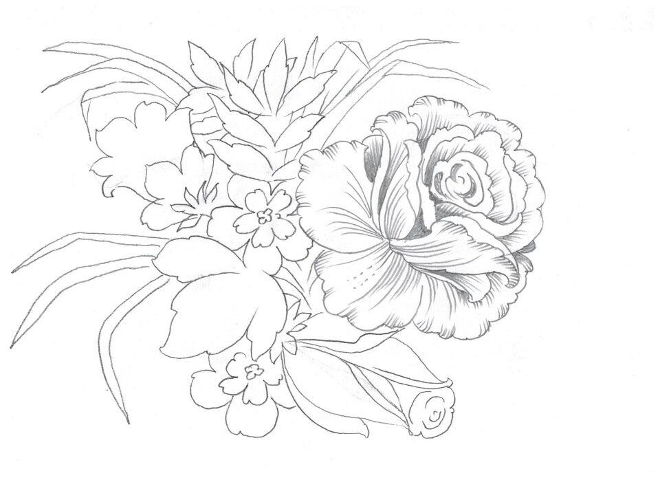 Рисунки букеты цветов карандашом картинки