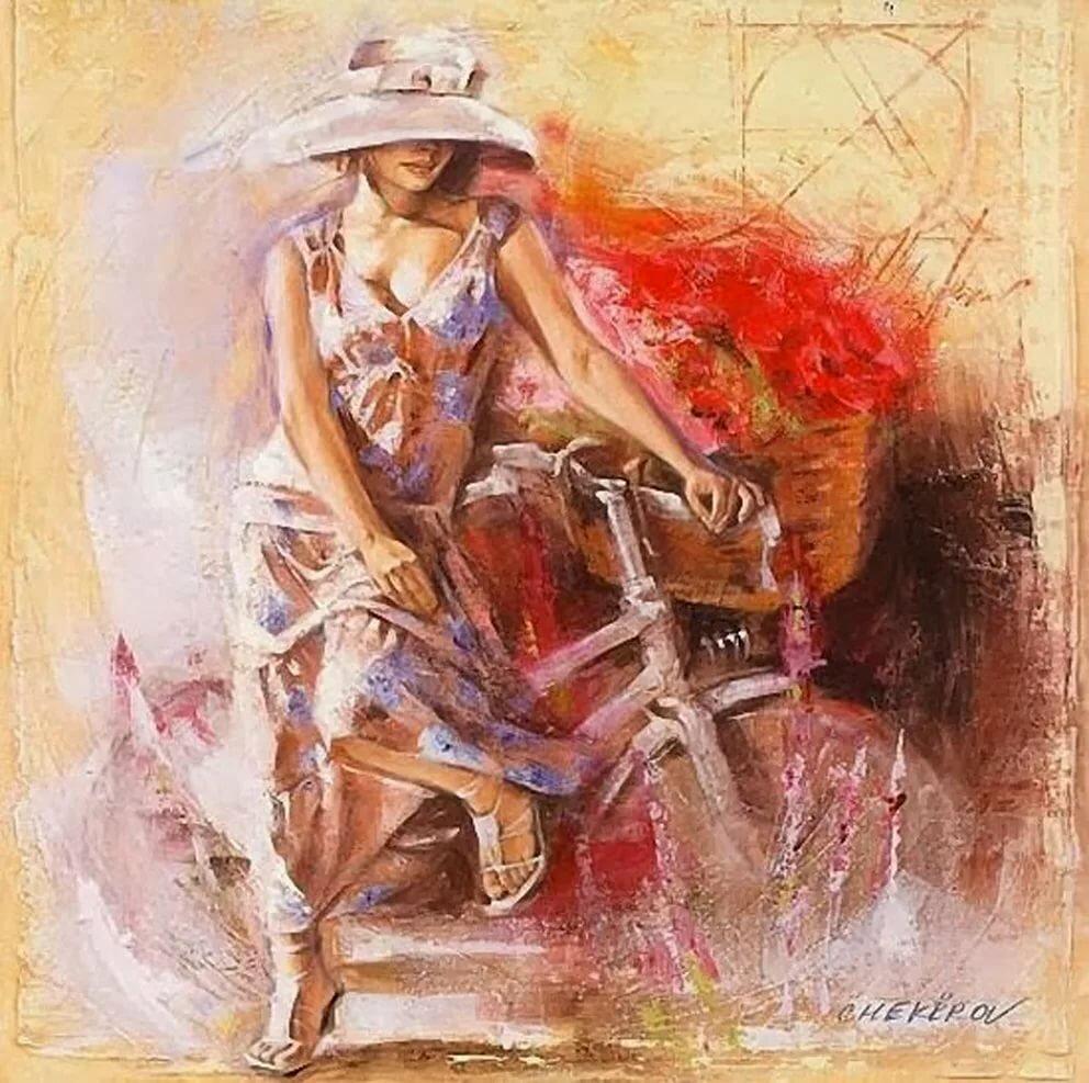 Красивые картинки для декупажа девушка на велосипеде