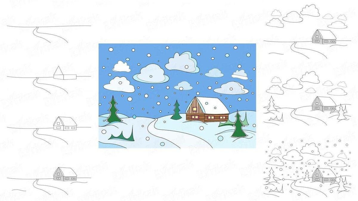 выбирать зимний пейзаж картинки рисунки поэтапно реалити-шоу блондинке удалось