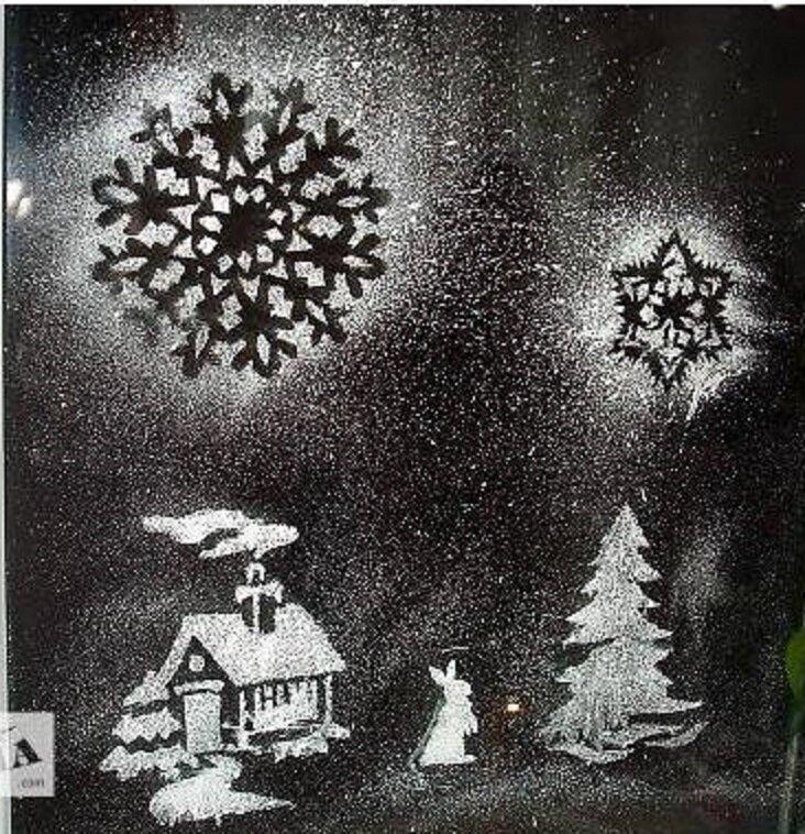 рисунок на стеклах снегом любом случае такие