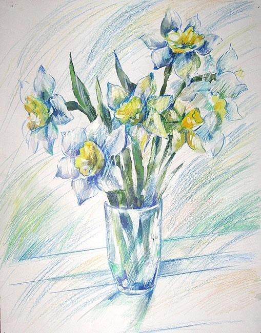 Рисунки цветы в вазе цветные
