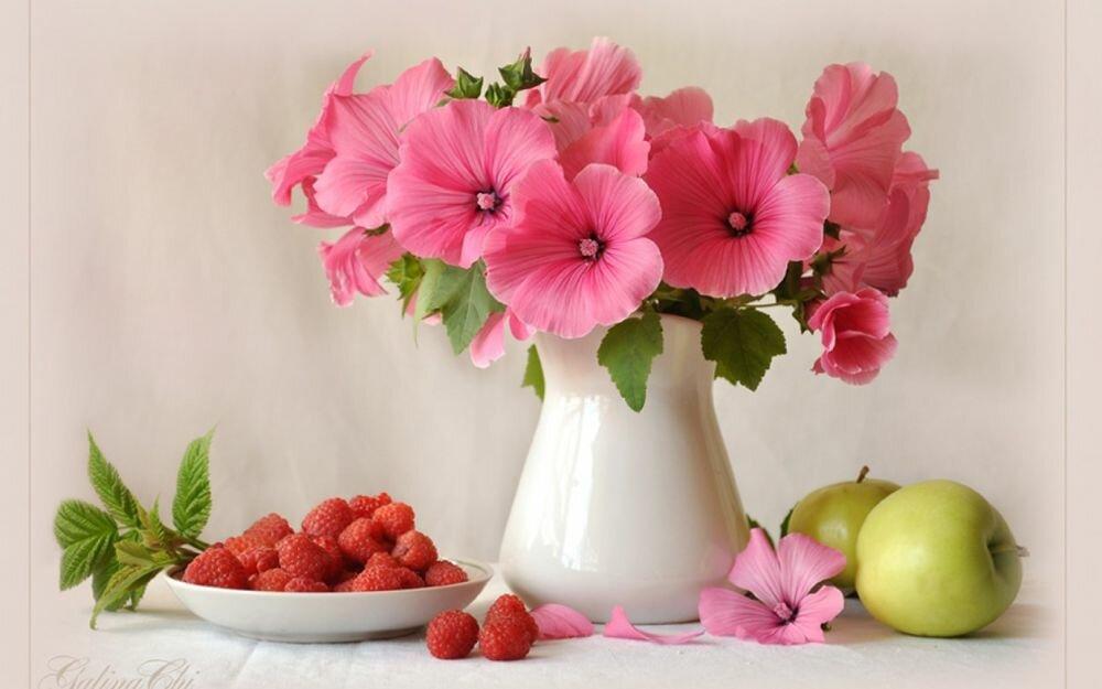 Открытки с малиной и цветами, днем