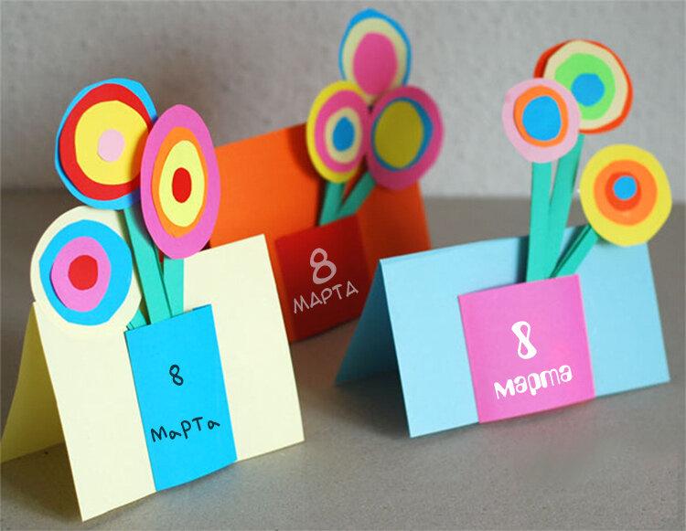 Картинку, как сделать открытку для бабушки из цветной бумаги