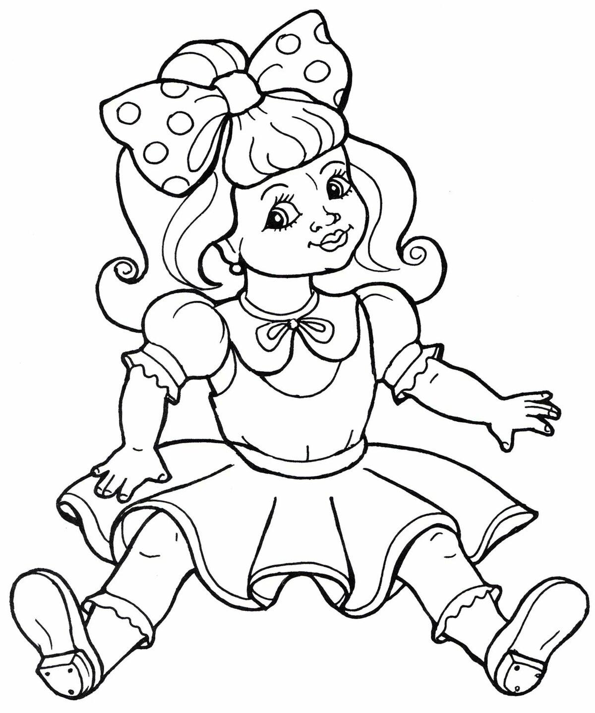 «Раскраска Кукла с бантиком - распечатать бесплатно ...