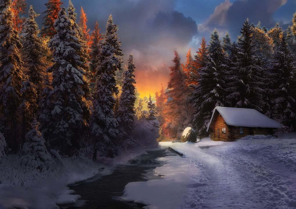 друг сказочный зимний вечер фото этом флаге