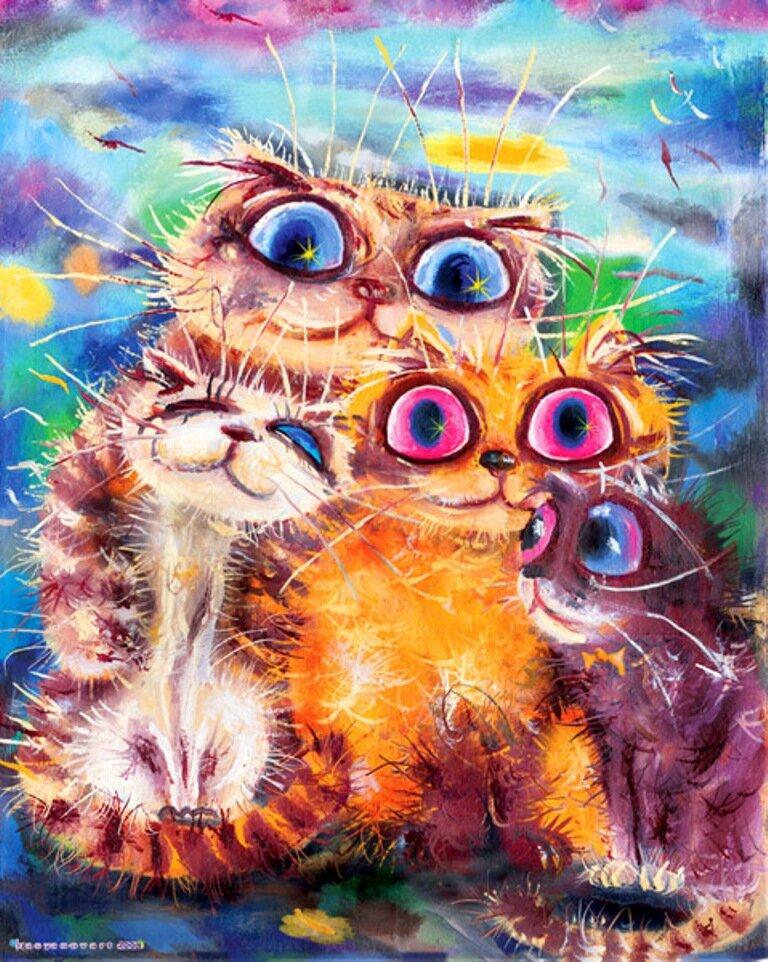 Телефон прикольные, смешные котики рисунки художников