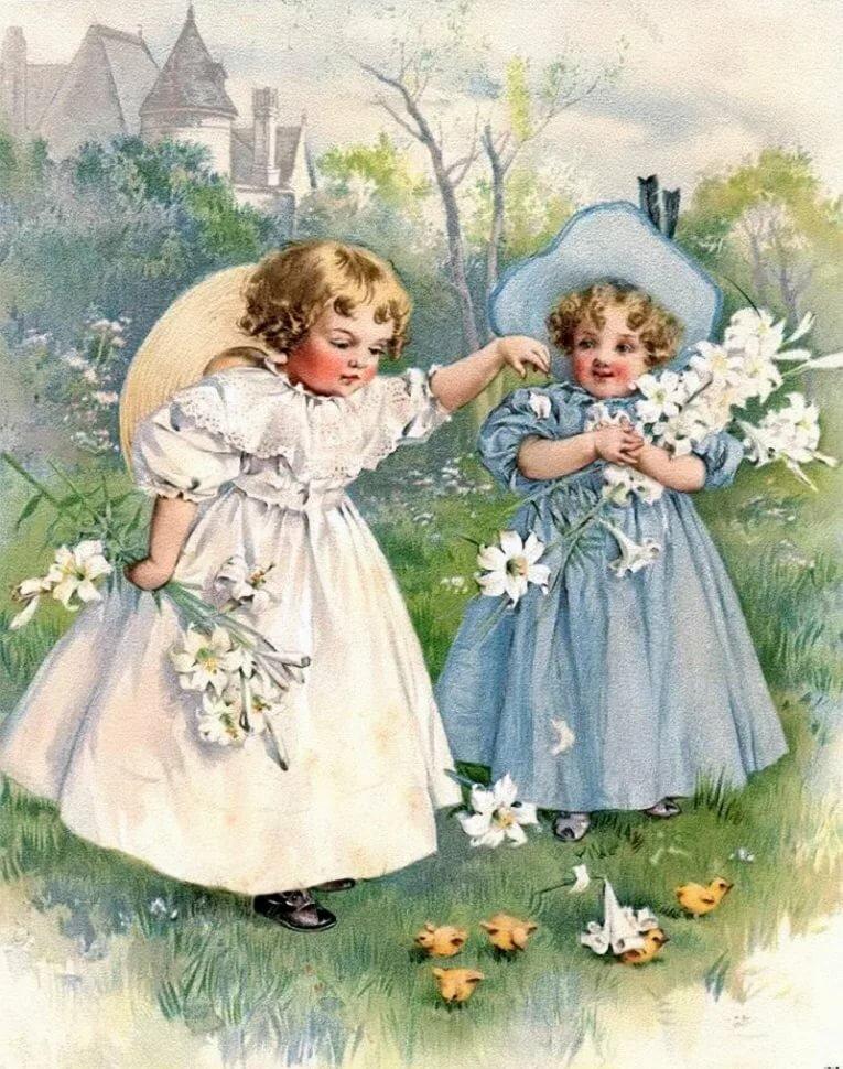 Открытки аистом, с днем рождения девочек близняшек старинные открытки