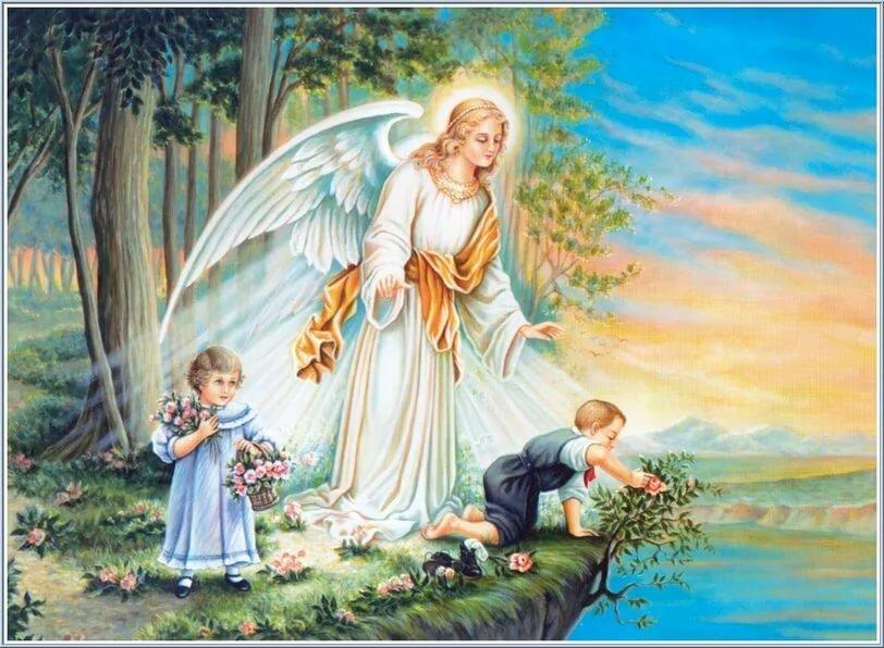 Картинка для, открытка ангел и дети на мосту