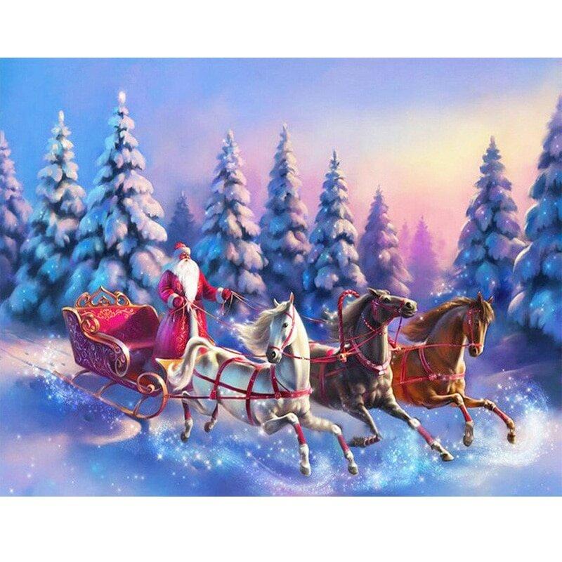 Картинки дед мороз на тройке мчится, гуашью ветка