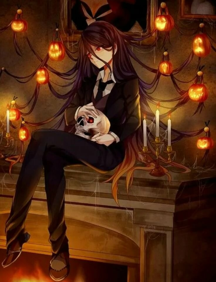 Картинки аниме хэллоуин парни