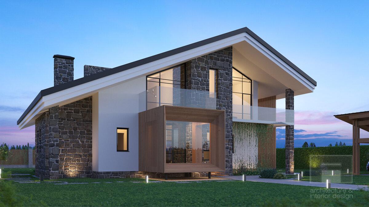 двухэтажные дома со скошенной крышей проекты фото питании