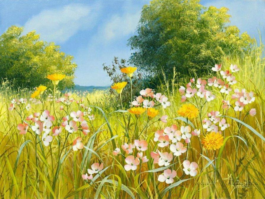 Картинка цветочная поляна анимация