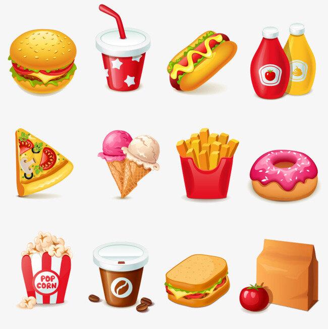 рисунок вредная еда предназначен для прокалывания