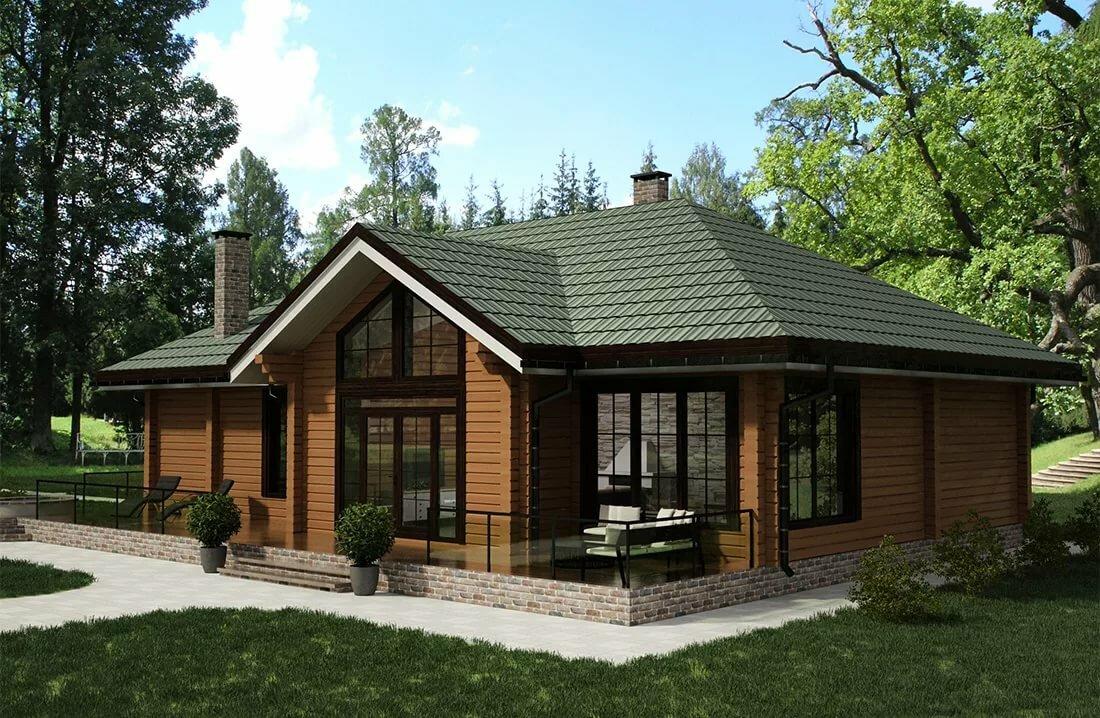 красивые одноэтажные деревянные дома проекты фото основе