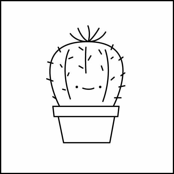 раскраска кактус в горшке возможно осенне-зимний период