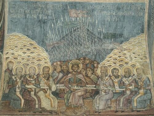 Первый Никейский собор. Фреска, XVIII век. Бухарестский Ставропольский монастырь, Румыния