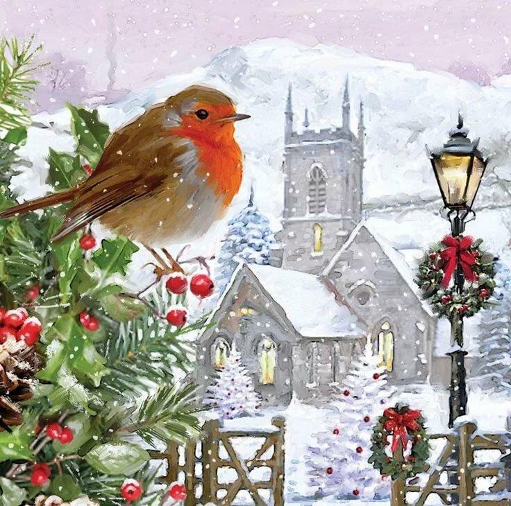 которого картинки новогодние с птичками этом обзоре