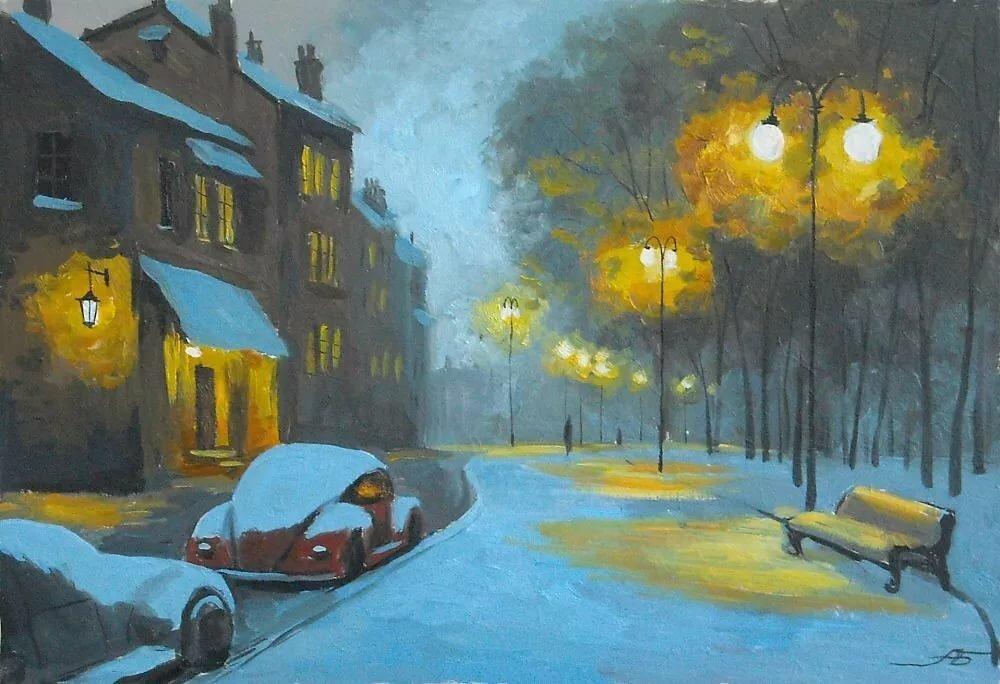 еще, вечерний зимний город картинки нарисовать чего начать олимпийка