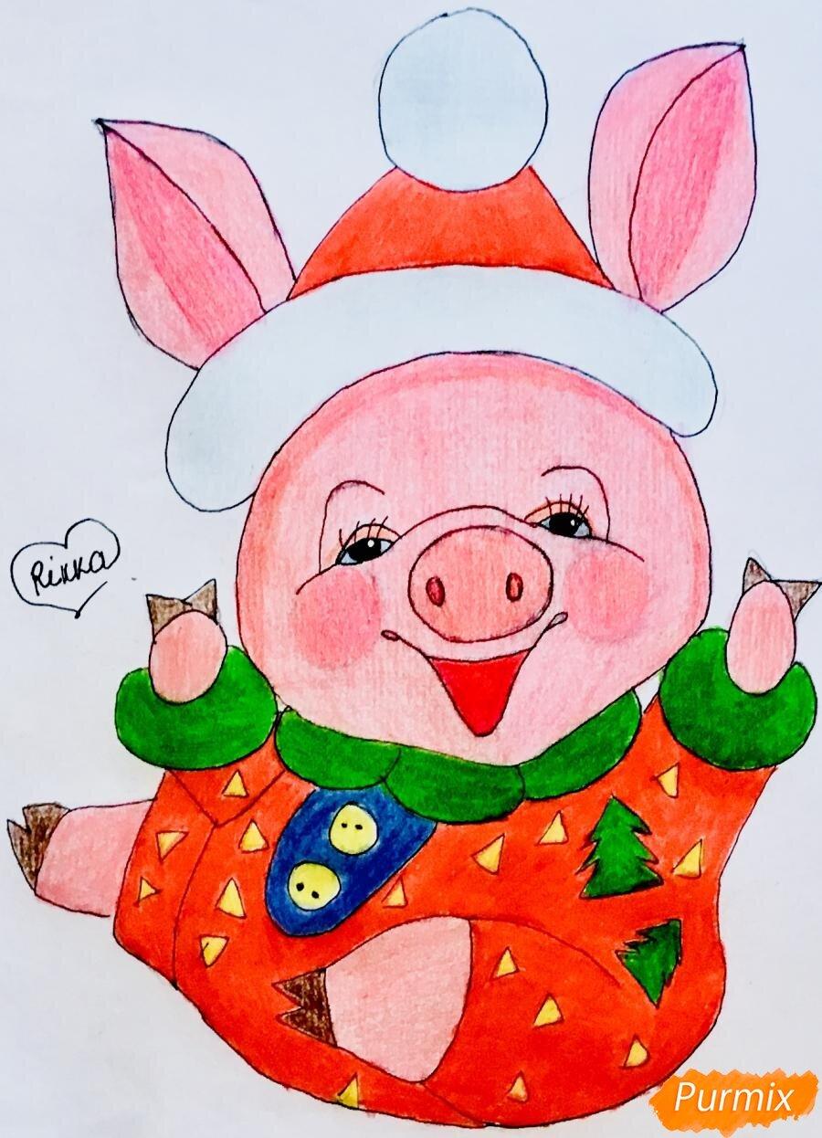 День рождения, нарисовать новогоднюю открытку своими руками со свиньей