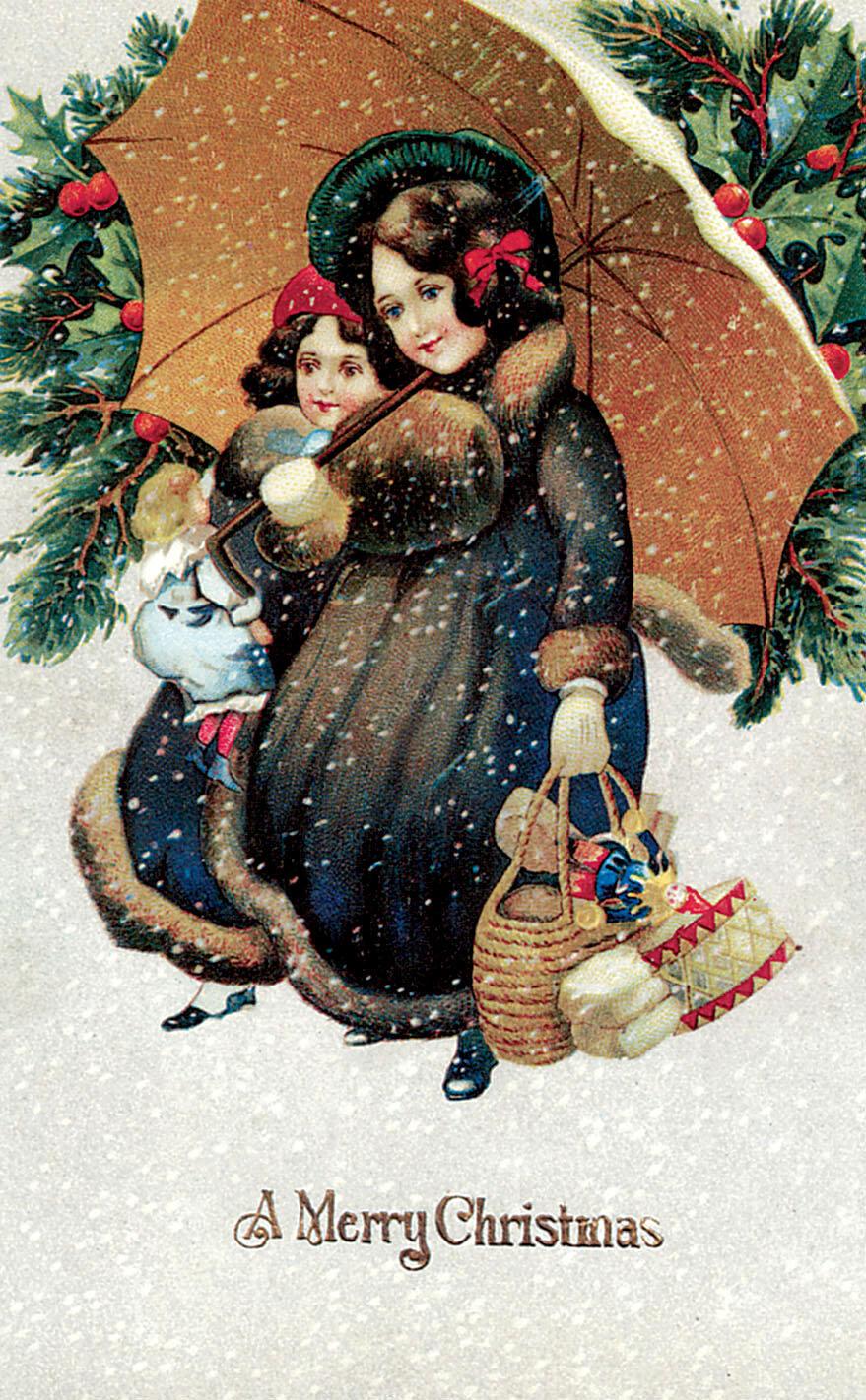 Приколом, иллюстрации рождественских открыток