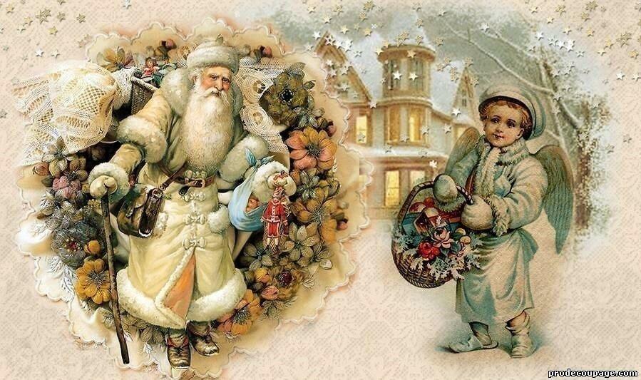 Новогодний декупаж открыток