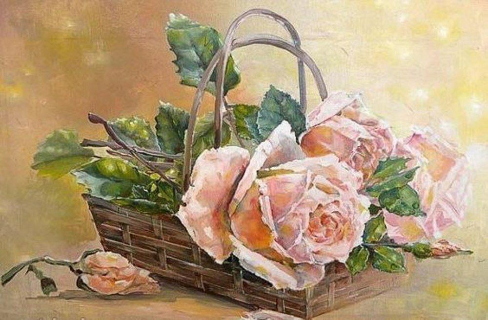 Днем рождения, розы в корзине картинки нарисованные