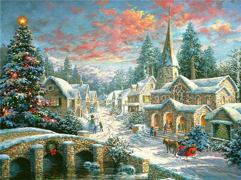 Влюбленных, рождество сказочные картинки