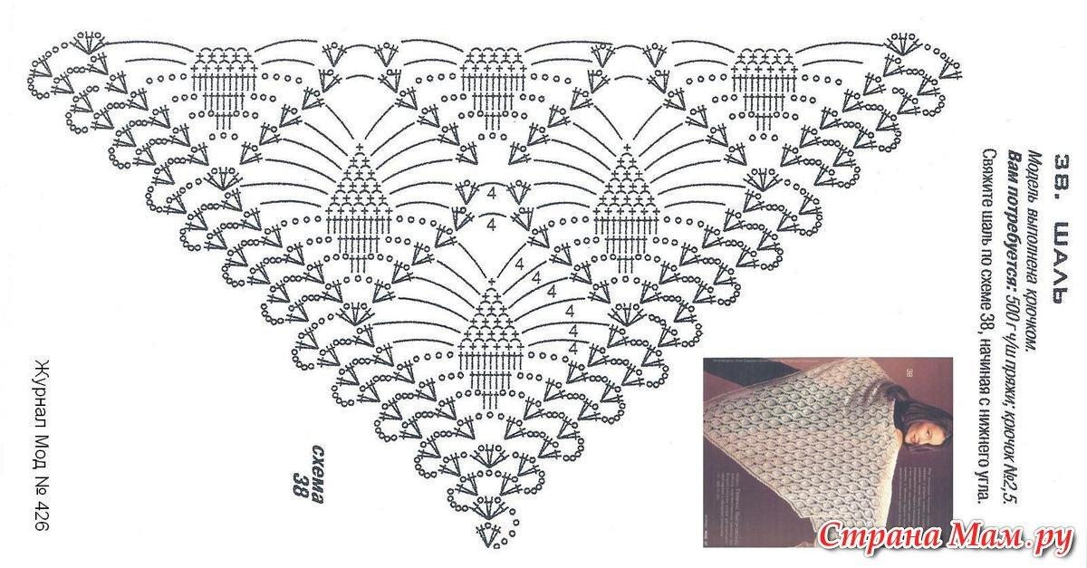 шали крючком с ананасами фото схемы точки
