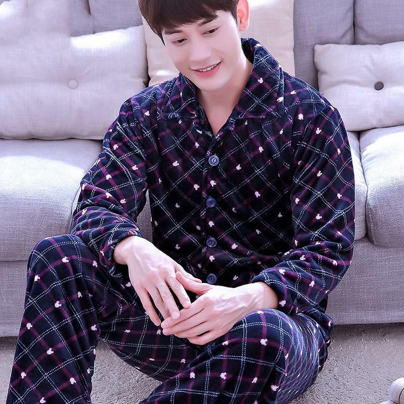 Для мужчин пижамные комплекты зимние фланелевые теплые толстые Для мужчин  пижамы костюм осень с длинным рукавом d765d6d1d838a