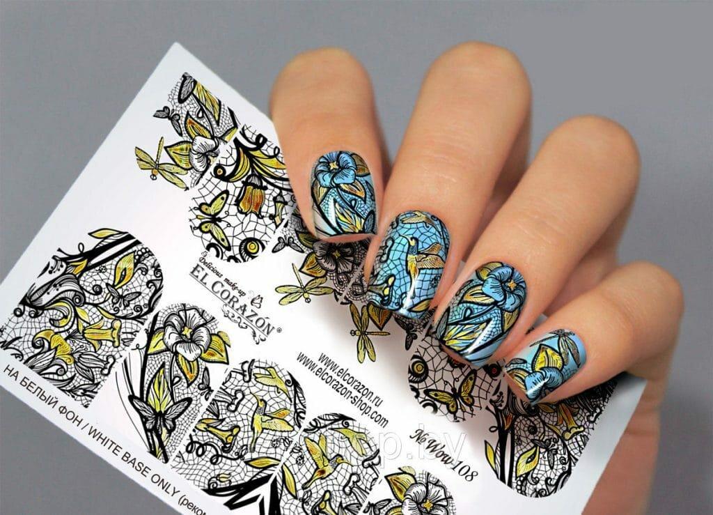 Картинки маникюр ногтей с наклейками
