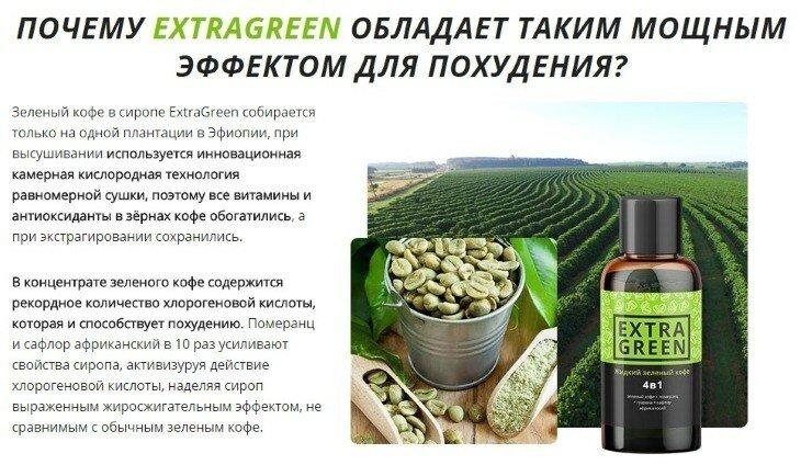 Extragreen жидкий зеленый кофе для похудения в буинске. Полезен.